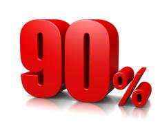 red ninety percent number on white background 3d illustration - stock illustration