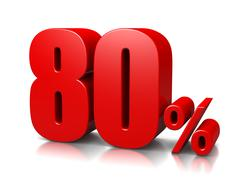red eighty percent number on white background 3d illustration - stock illustration