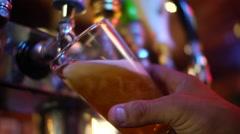Foamy Beer Filling Glass Stock Footage