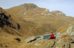 Resting in the valley of anniviers near the lake of moiry, valais, switzerlan Stock Photos