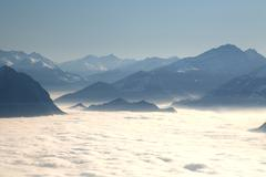 Stock Photo of view onto the sea of fog in the rhine river valley, east swiss mountains from