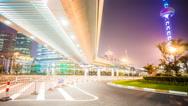 Stock Video Footage of 4k resolution Overline bridge and highway in Shanghai