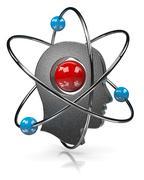 human head with atom illustration on white - stock illustration