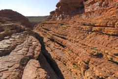 Stock Photo of fault or crack through stratified layers of red rock at the kings canyon rim