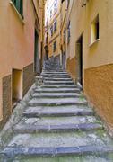 Narrow alley in vernazzo, liguria, cinque terre, italy, europe Stock Photos