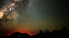 Astro Time Lapse of Milky Way Sunrise over Mauna Kea Observatory -Zoom In- - stock footage