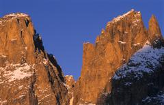 Rock faces of mt. plattkofel and langkofel, sasso lungo, dolomites, province  Stock Photos