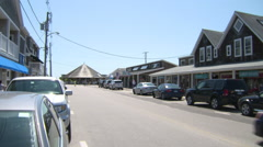 Bay street, watch hill, ri, with carousel in distance Stock Footage