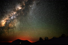 6K Astrophotography Time Lapse of Milky Way Sunrise over Mauna Kea Observatory - stock footage
