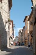alley, corso mazzini, assisi, umbria, italy, europe - stock photo
