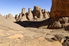 rock formation in el ghessour, tassili du hoggar, wilaya tamanrasset, algeria - stock photo