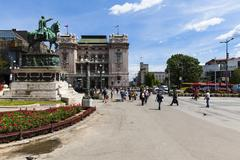 Serbia, Belgrade, Republic Square with memorial Mihailo Obrenovic - stock photo