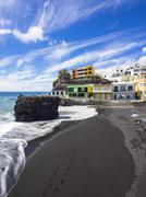 Spain, Canary Islands, La Palma, Puerto Naos, Black lava beach Stock Photos