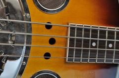 Corpus and fingerboard of an acoustic regal bass guitar Stock Photos