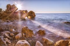 France, Alpes-Maritimes, coast at Cap d'Ail Stock Photos
