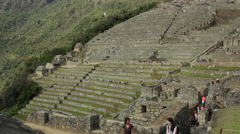 Tourists visiting Machu Picchu, Peru - UNESCO World Heritage Site - August 2014 Stock Footage