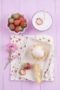 Strawberry icecream and milkshake - stock photo