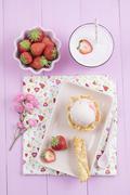 Strawberry icecream and milkshake Stock Photos