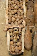 old american cluster bomb shell containing hundreds of individual bomblets, b - stock photo