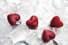 hearts on ice - stock photo