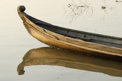 Traditional fishing boat on the irrawaddy or ayeyarwady river, myanmar (birma Stock Photos