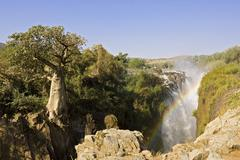 Stock Photo of epupa falls along the border to angola with an african baobab (adansonia digi