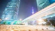 Stock Video Footage of 4k resolution Shanghai Office buildings Overline bridge night  time lapse