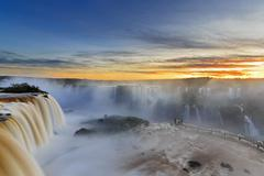 South America, Argentina, Brazil, Iguazu National Park, Iguazu Falls at sunset - stock photo