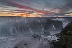 South America, Brazil, Parana, Iguazu National Park, Iguazu Falls in the evening - stock photo