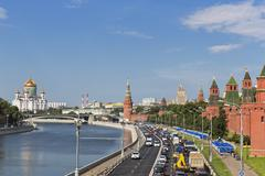 Russia, Moscow, street, Cathedral of Christ the Saviour, Kremlin Wall and Moskva Stock Photos