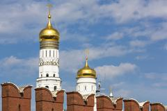 Russia, Moscow, Kremlin wall and Ivan the Great Bell Tower - stock photo