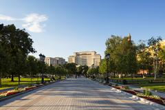 Russia, Moscow, Alexander Garden and Hotel Moscow - stock photo