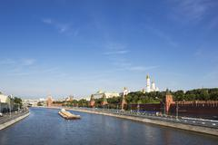 Russia, Moscow, River Moskva, Kremlin wall with towers and cathedrals - stock photo