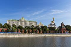Stock Photo of Russia, Moscow, River Moskva, Grand Kremlin Palace and cathedrals