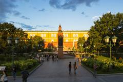 Russia, Moscow, Alexander Garden and Kremlin Arsenal Stock Photos