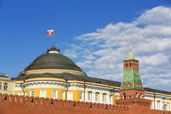 Russia, Moscow, Red Square with Senate Palace and Tower and Kremlin wall - stock photo