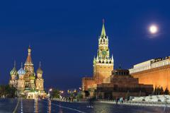 Russia, Central Russia, Moscow, Red Square, Saint Basil's Cathedral, Kremlin Stock Photos