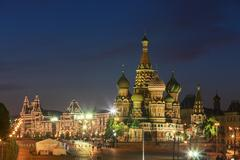 Stock Photo of Russia, Central Russia, Moscow, Red Square, Saint Basil's Cathedral and GUM