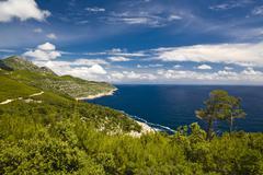 coastal landscape of mljet island, dubrovnik-neretva county, dalmatia, croati - stock photo