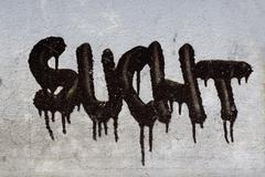 Sucht, addiction, writing, graffiti on a house wall Stock Photos