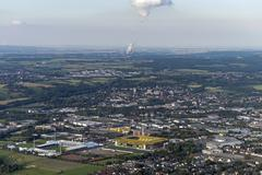 Germany, Aachen, aerial view of the city with power plant and stadium Stock Photos