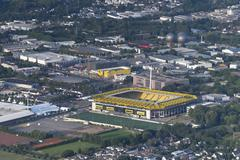 Germany, Aachen, aerial view of the city with stadium Stock Photos