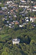 Germany, Aachen, aerial view of the city with Belvedere Water Tower Stock Photos