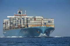 Stock Photo of Spain, Andalusia, Tarifa, Container ship