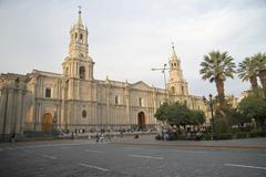South America, Peru, Arequipa, Basilica Cathedral of Arequipa - stock photo