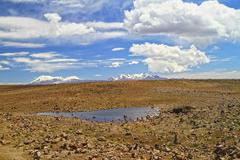 South America, Peru, Andes, Meager landscape with pond Stock Photos