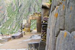 South America, View of the ruins of Ollantaytambo near Cusco Stock Photos