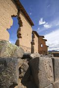 South America, Raqch'i, View of the Temple of Wiracocha - stock photo