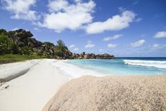 Stock Photo of Seychelles, View of the Petit Anse beach at La DIgue Island