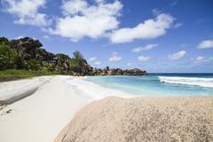 Seychelles, View of the Petit Anse beach at La DIgue Island Stock Photos